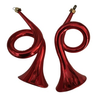 1960s Vintage Red German Blown Glass French Horn Christmas Ornaments- A Pair For Sale