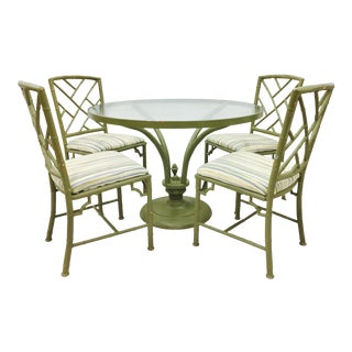 Vintage Green Faux Bamboo Chinese Chippendale Dining Set For Sale