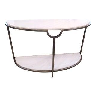 Transitional Bernhardt Morello Console Faux Carrara Demilune Console Table For Sale