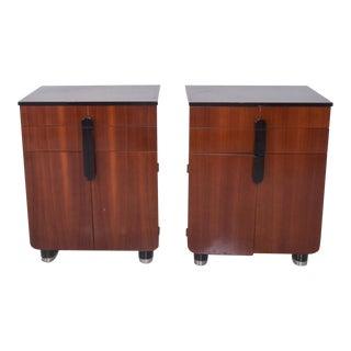 Donald Deskey Art Deco Moderne Walnut Black Glossy Cabinets Set by Hamilton Mfg For Sale
