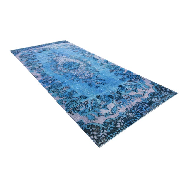 Vintage Distressed Turkish Royal Blue Overdyed Rug - 4′1″ × 9′4″ - Image 1 of 4