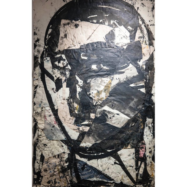 Sylvia Schuster Abstract Ink, Paper Collage Head 4 For Sale - Image 4 of 4