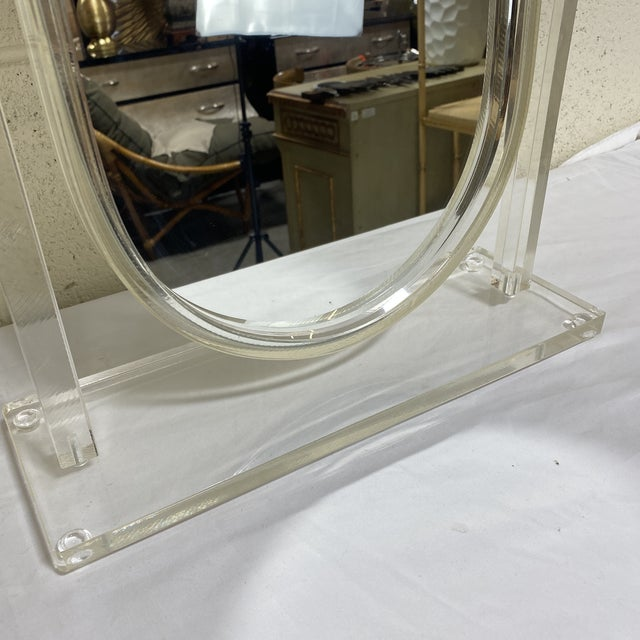 White Vintage Lucite Vanity Mirror For Sale - Image 8 of 10