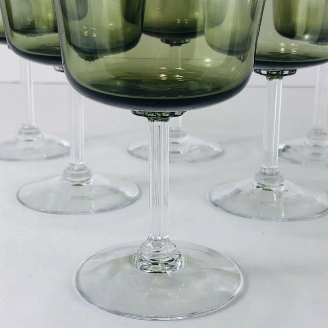 """Set of 6 Vintage Fostoria Glamour Green Wine / Water Stems Measures: 3.25""""Dia x 5.5""""H Condition: Excellent condition!"""