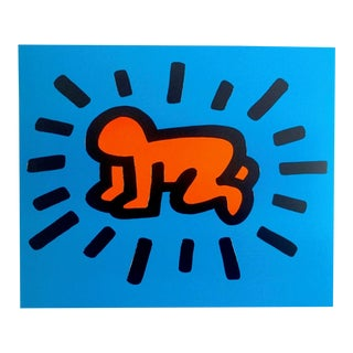 """Keith Haring Estate Rare Vintage Lithograph Print Pop Art Poster """" Radiant Baby """" 1990 For Sale"""