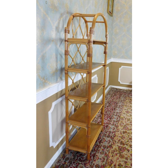 Arched Rattan & Bamboo Etagere - Image 7 of 7