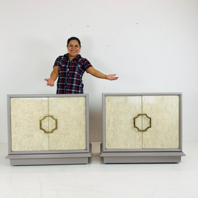Pair of Mastercraft Bachelor Burl and Lacquer Cabinets For Sale - Image 9 of 13