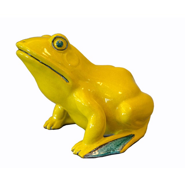 Folk Art Italian Neon Yellow & Green Ceramic Pottery Fountain Frog Outdoor Sculpture For Sale - Image 3 of 13
