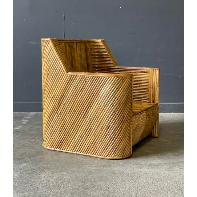 Outrageous Vintage Bamboo Club Chair and Ottoman For Sale - Image 4 of 12