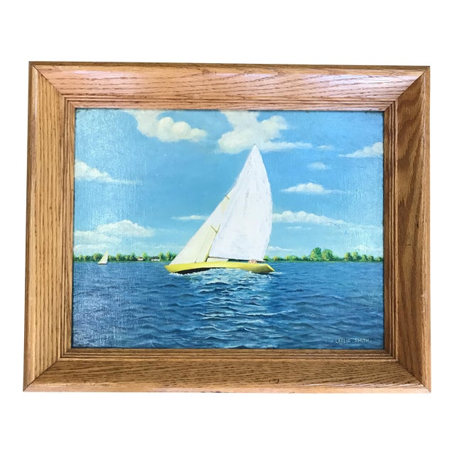 Vintage Nautical Sailboat Painting - Image 1 of 6