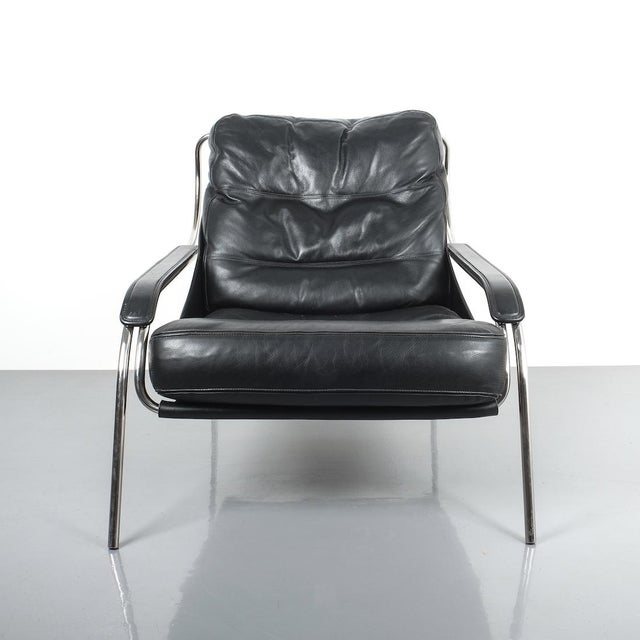 Animal Skin Marco Zanuso Maggiolina Sling Black Leather Chair by Zanotta, 1947 For Sale - Image 7 of 11