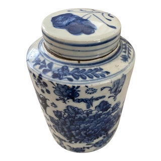 Vintage Asian Blue and White Ceramic Tea Caddy For Sale