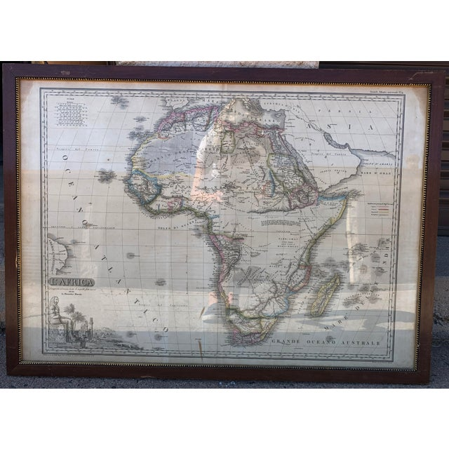 Italian Framed Printed and Hand Colored Map of Africa For Sale - Image 4 of 13