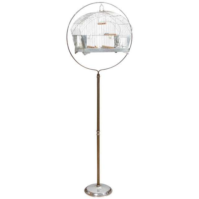 Hendryx American Art Deco Bird Cage on Stand For Sale