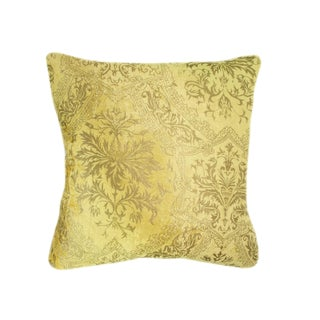 Yellow and Gold Venetian Velvet Pillow For Sale