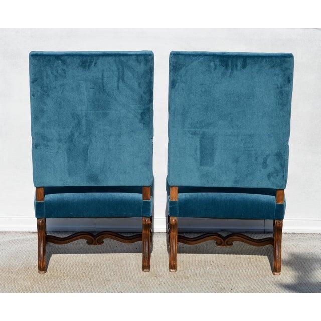 Blue Louis XIV Style Os De Mouton Armchairs, a Pair For Sale - Image 8 of 12