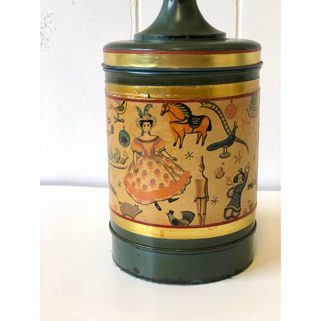 Dark Green Art Deco Child's Lamp of Tole With a Toy Themed Paper Applique For Sale - Image 8 of 12