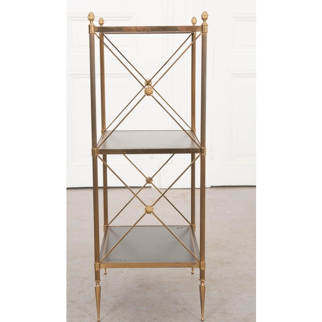 Metal French 20th Century Neoclassical Brass and Leather Étagère For Sale - Image 7 of 10