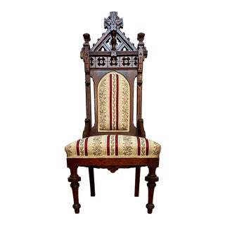 19th Century Gothic Revival Carved Cathedral Chair For Sale