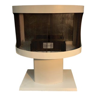 1960s Vintage White Metal Free Standing Fireplace For Sale