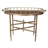 Image of Maison Jansen Faux Bamboo Tray Top Table For Sale