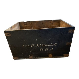 Early 20th Century Antique Wooden Trunk For Sale