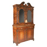 Image of Chippendale Style Walnut Two Part Bookcase For Sale