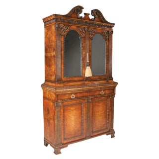 Chippendale Style Walnut Two Part Bookcase For Sale