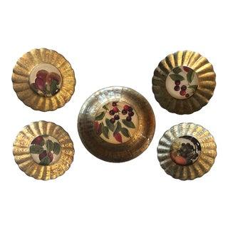 Lesley Roy Decorative Dessert Plates & Serving Bowl - Set of 5 For Sale