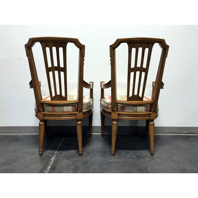 Brown Henredon Capri Mid Century Italian Provincial Neoclassical Dining Captain's Arm Chairs - Pair For Sale - Image 8 of 13