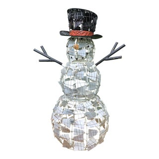 Mid-Century/Vintage Metal and Seeded Art Glass Snowman For Sale