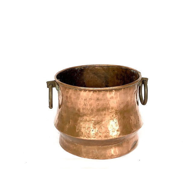 1940s Country Hammered Copper Cache Pot Planter For Sale - Image 11 of 11
