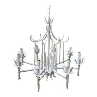 Vintage Faux Bamboo Pagoda Chandelier For Sale