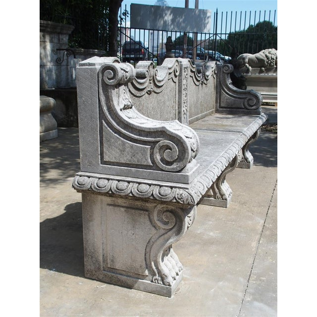 Carved Limestone Garden Bench from Northern Italy - Image 6 of 11