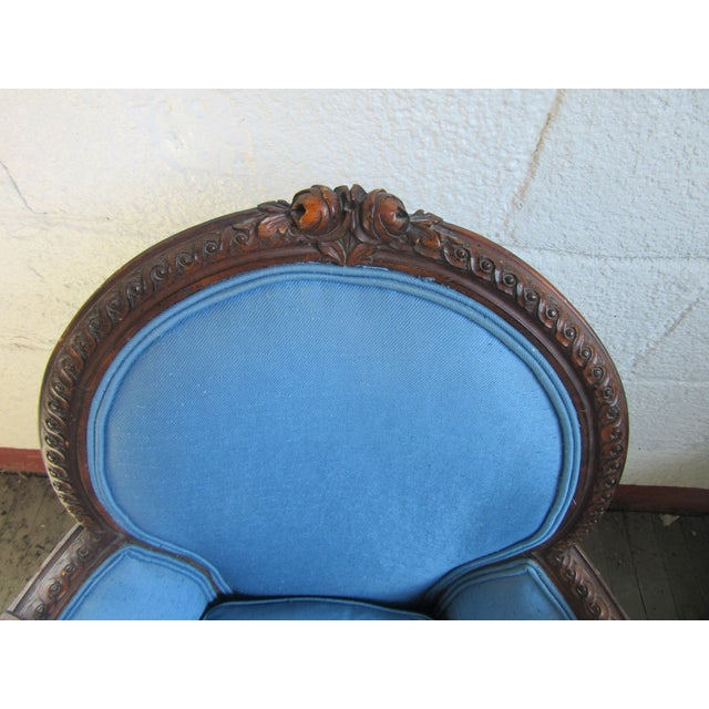 1940s Antique Petite French Blue Upholstery Carved Walnut Frame Fireside Chairs or Bergeres- a Pair For Sale In Philadelphia - Image 6 of 13