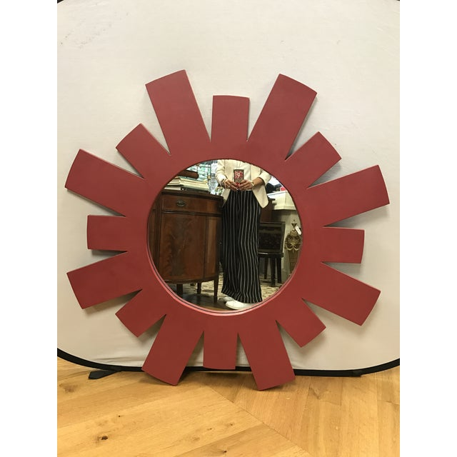 Hand crafted architectural mid-century modern large red starburst style wall mirror guaranteed to brighten up any space....