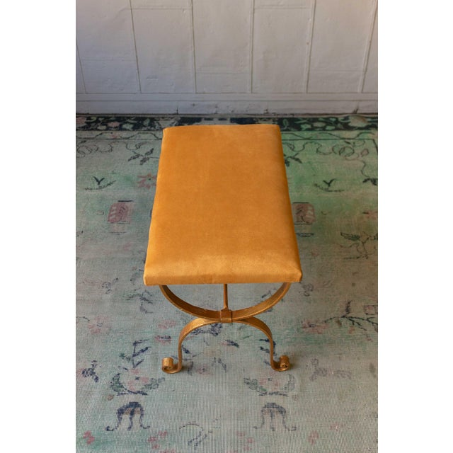 Traditional 1950s Vintage Iron Suede Seat Bench For Sale - Image 3 of 10