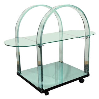 FRENCH MODERNIST GLASS AND MIRROR SERVING CART