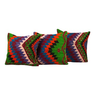 Bohemian Handwoven Multi-Colored Wool Pillows - Set of 3 For Sale