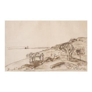 """1950s Johan Barthold Jonkind """"Seaside"""", First Edition Cottage Lithograph For Sale"""