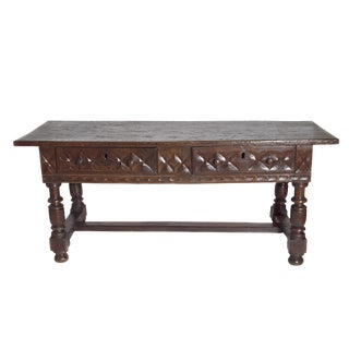 Late 17th Century Spanish Baroque Walnut Center Table For Sale