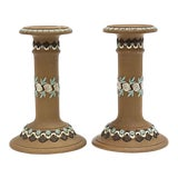 Image of Doulton Lambeth Arts and Crafts Candlesticks, a Pair For Sale