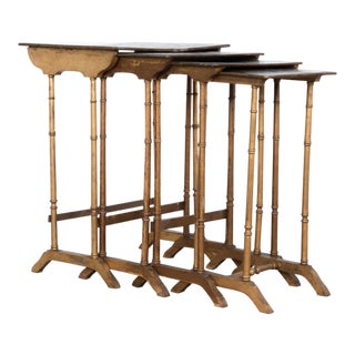 Napoleon III Floral Gilded Faux Bamboo Nesting Tables - Set of 4 For Sale