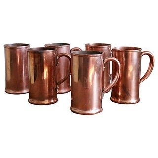 Monogramed Brewery Copper Mugs - Set of 6 For Sale