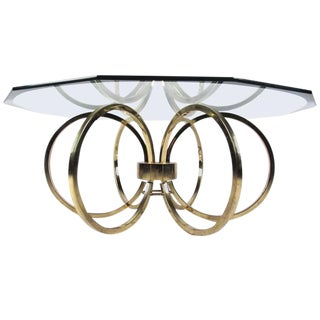 Vintage Modern Coffee Table With Octagonal Bevelled Glass Top For Sale