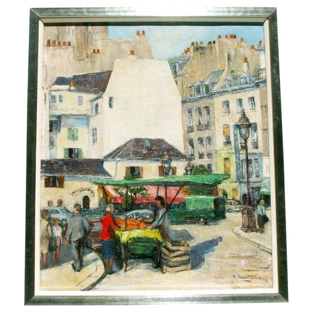 Paris Street Market, Oil Painting - Image 1 of 4