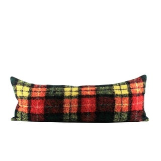 """Colorful Plaid Mohair Wool Accent Pillow 13"""" x 34"""" For Sale"""