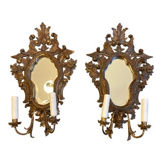 Pair of Vintage Italian Wall Sconces With Mirrors For Sale