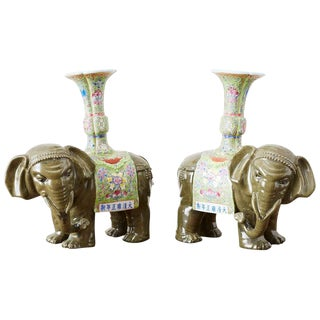 Pair of Chinese Jade Colored Porcelain Elephant Candlesticks For Sale