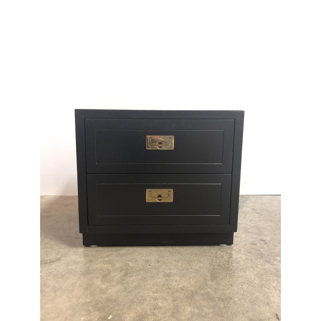 Campaign 2 Drawer Henredon Black Lacquered Campaign Chest For Sale - Image 3 of 12